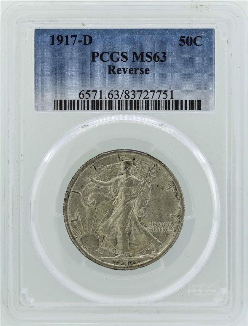 1917-D Walking Liberty Half Dollar Coin PCGS MS63