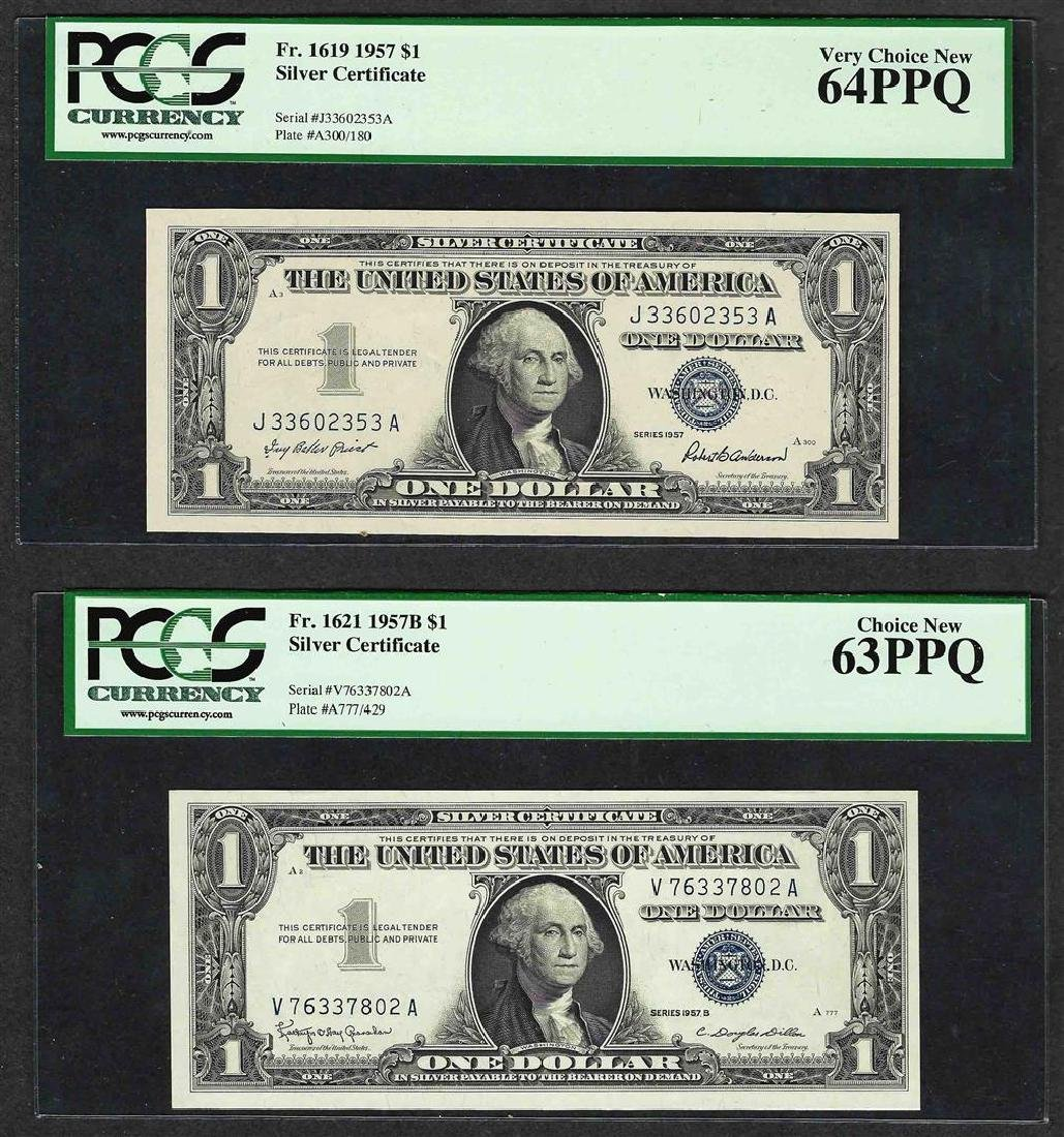 Lot of 1957 $1 Silver Certificate PCGS 64PPQ & 1957B $1