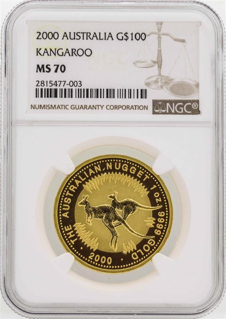 2000 Australia $100 Kangaroo Gold Coin NGC MS70
