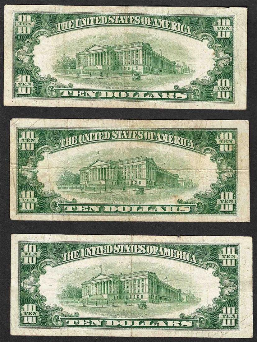 Lot of (3) 1953 $10 Silver Certificate Notes - 2