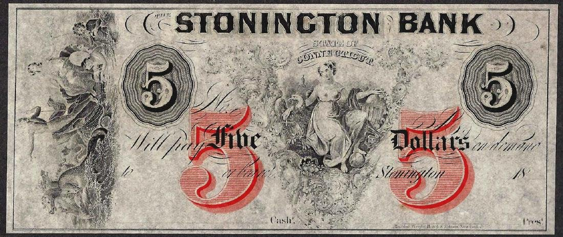 1800's $5 The Stonington Bank Obsolete Note