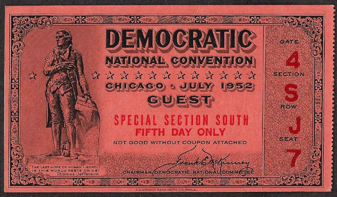 July 1952 Democratic National Convention Ticket