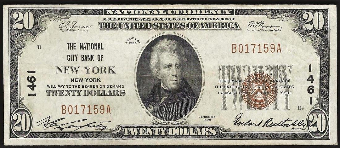 1929 $20 New York New York National Currency Note CH#