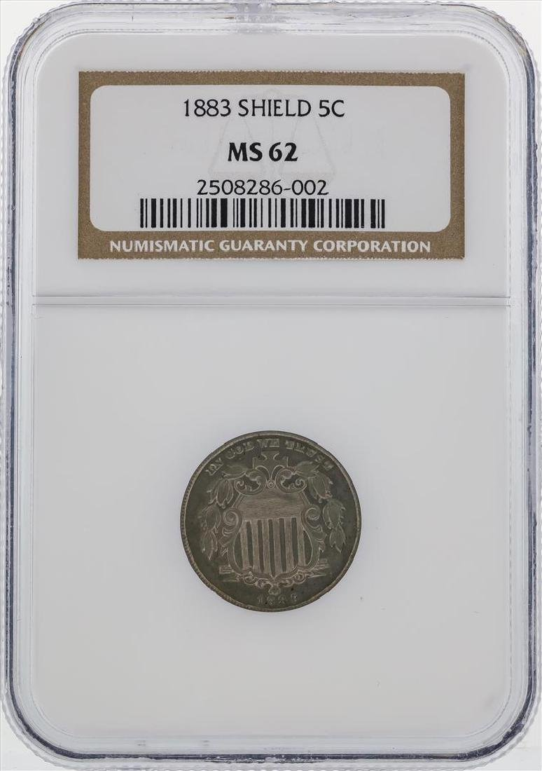 1883 Shield Nickel Coin NGC MS62