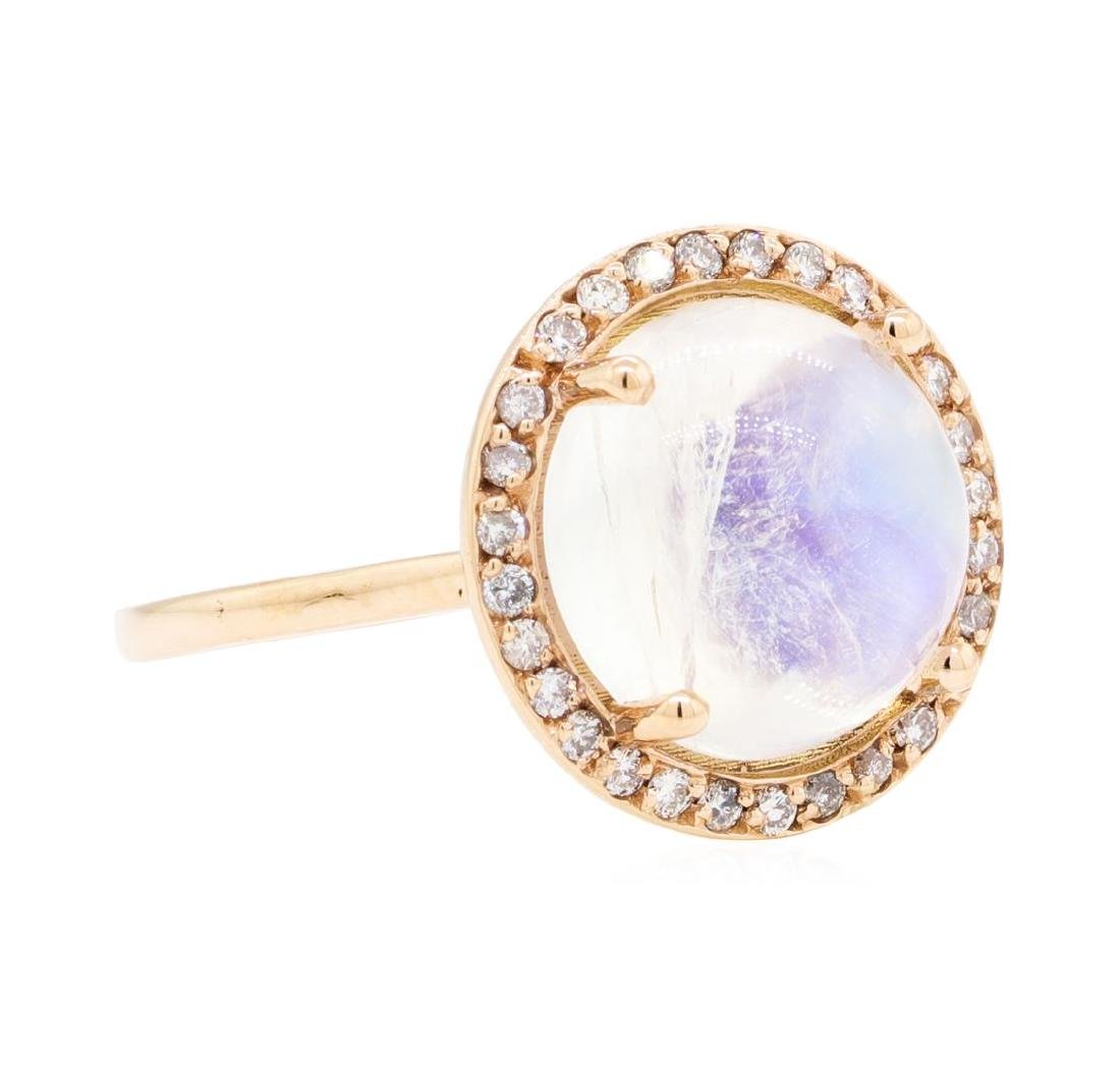 14KT Rose Gold 5.24 ctw Moonstone and Diamond Ring