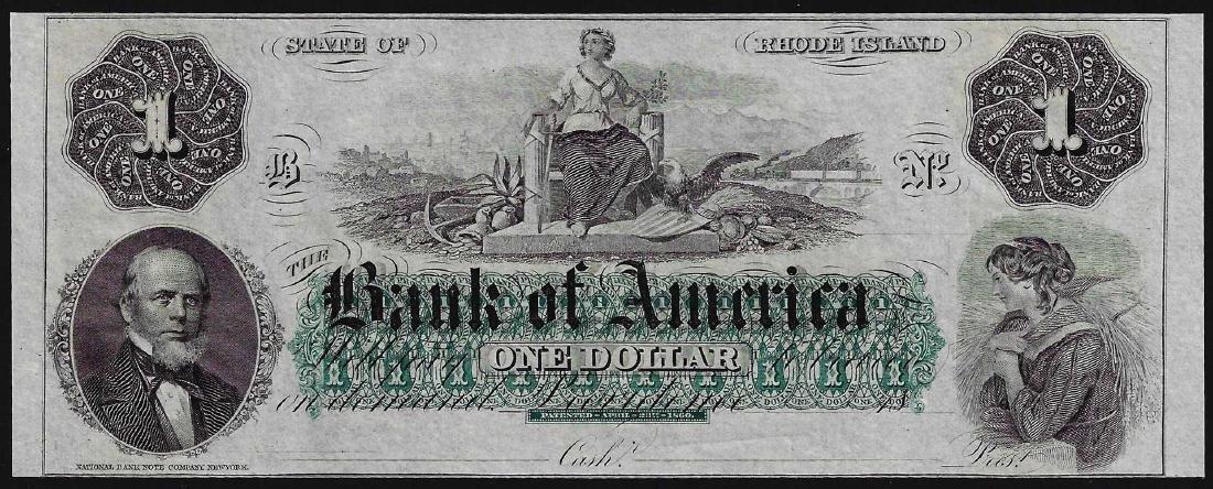 1800's $1 Bank of America Providence Rhode Island