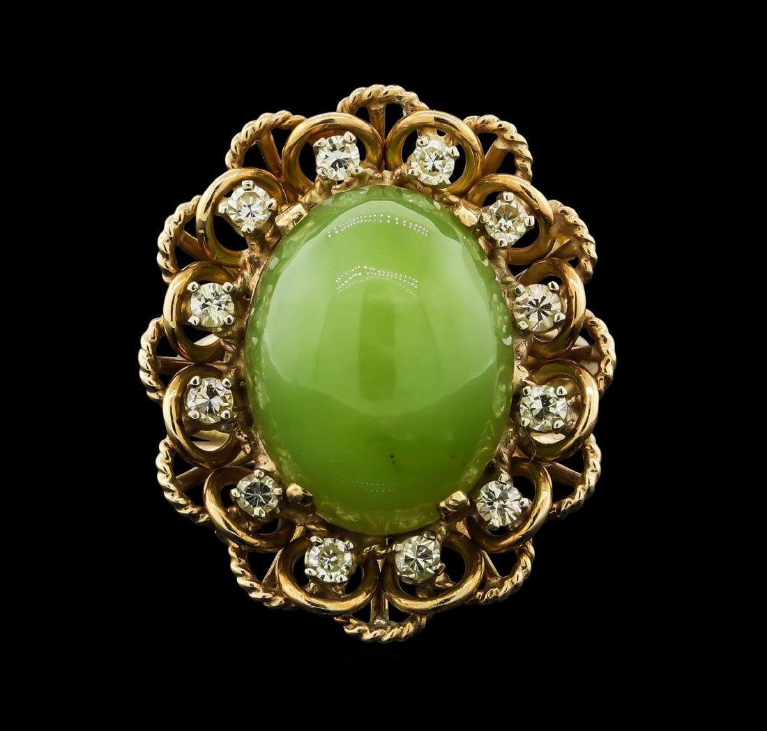 14K Yellow Gold Jade and Diamond Ring