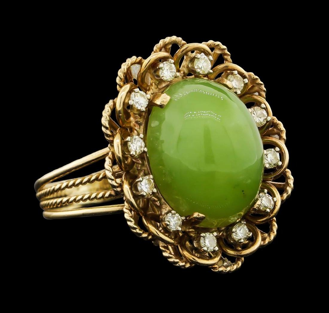 14K Yellow Gold Jade and Diamond Ring - 2