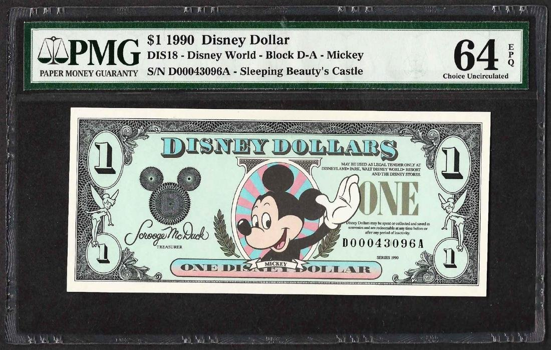 1990 $1 Disney Dollars Note PMG Choice Uncirculated