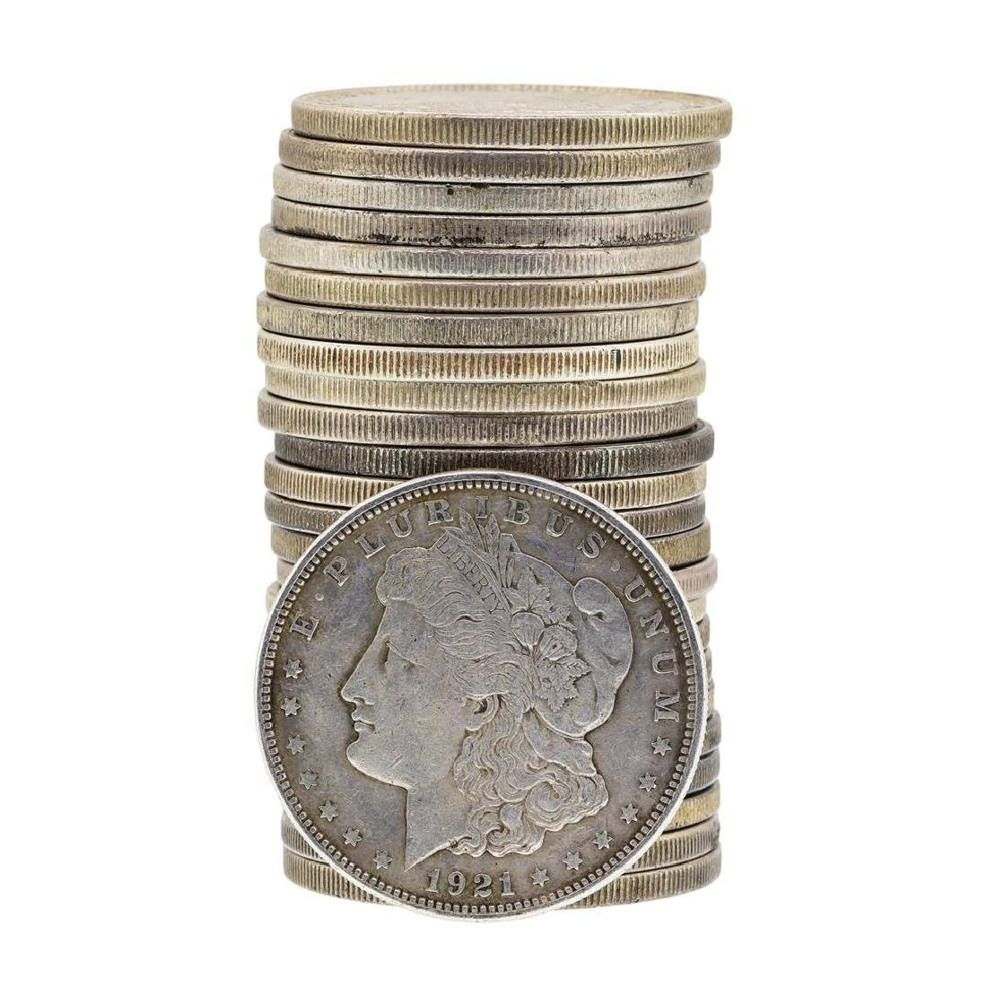 Roll of (25) 1921 $1 Morgan Silver Dollar Coins -
