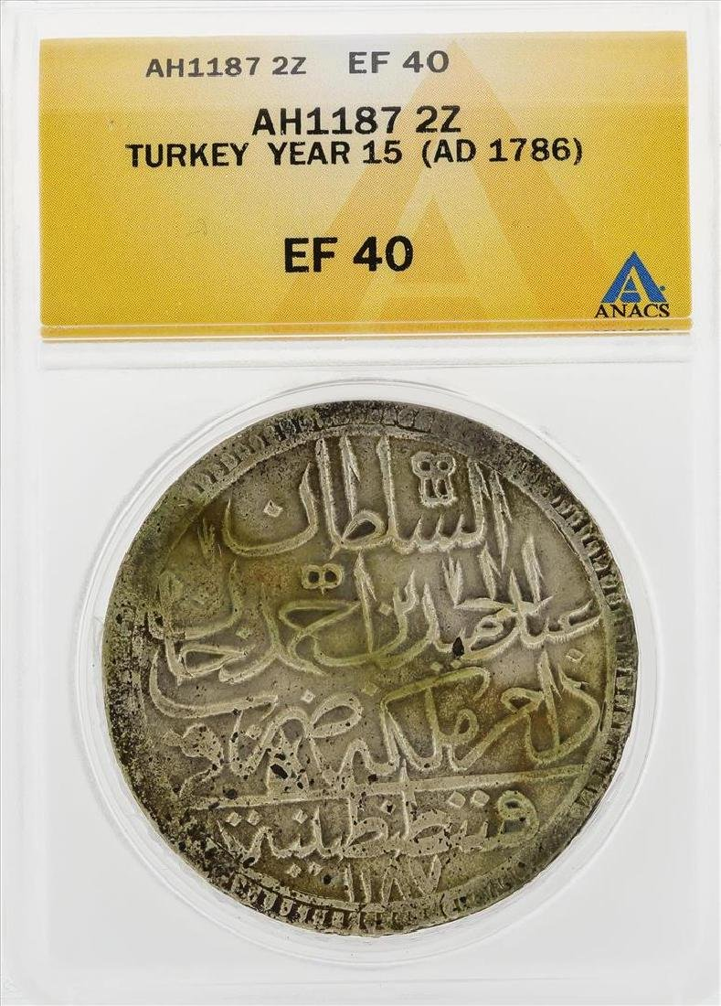 AH1187 2 Zolota Turkey Year 15 AD 1786 Coin ANACS EF40