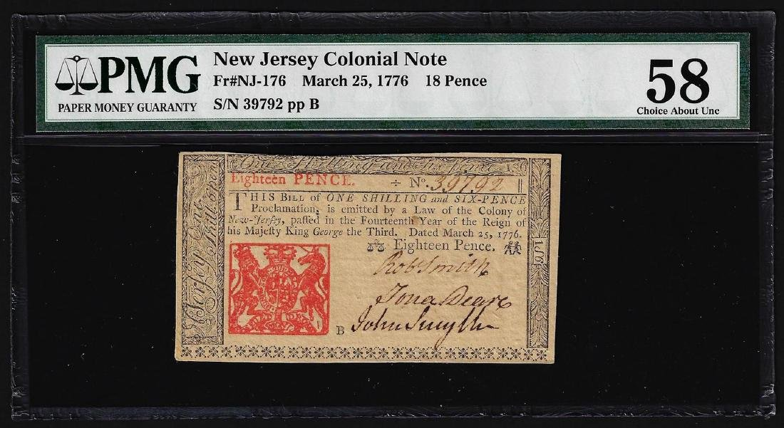 March 25, 1776 New Jersey 18 Pence Colonial Note PMG