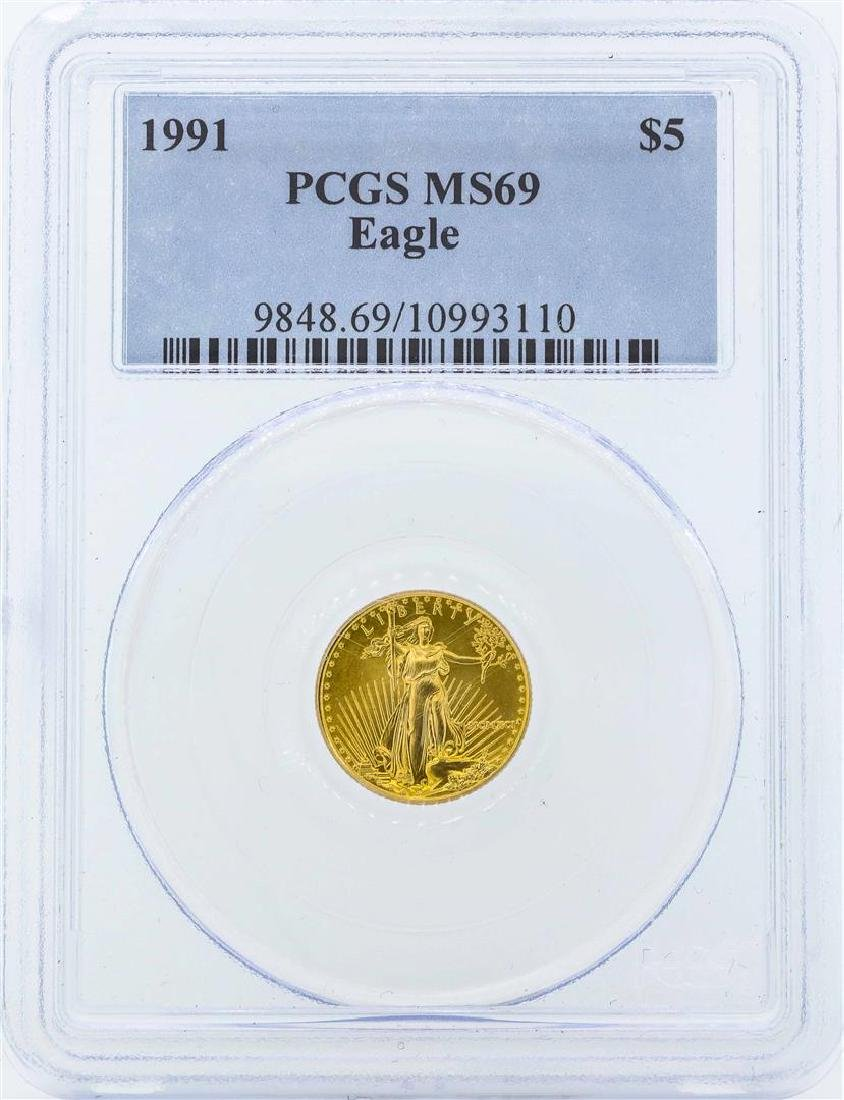 1991 $5 American Gold Eagle Coin PCGS MS69