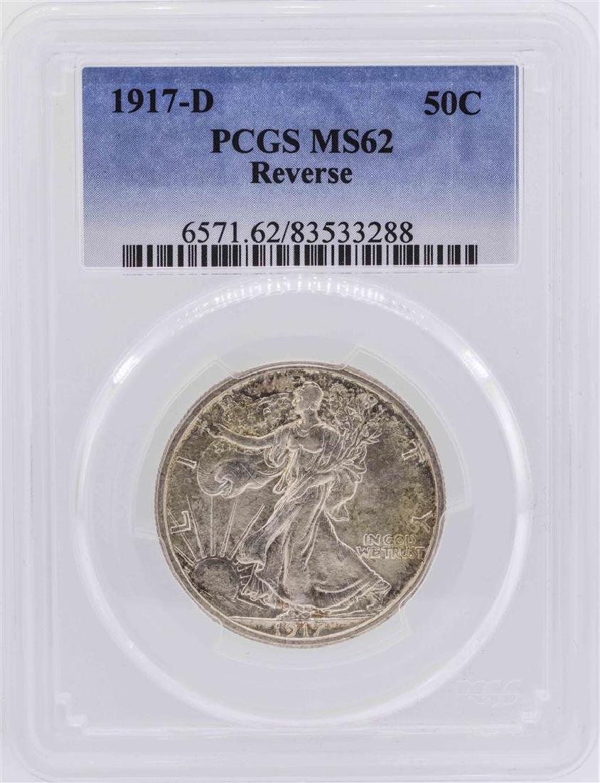 1917-D Walking Liberty Half Dollar Coin PCGS MS62