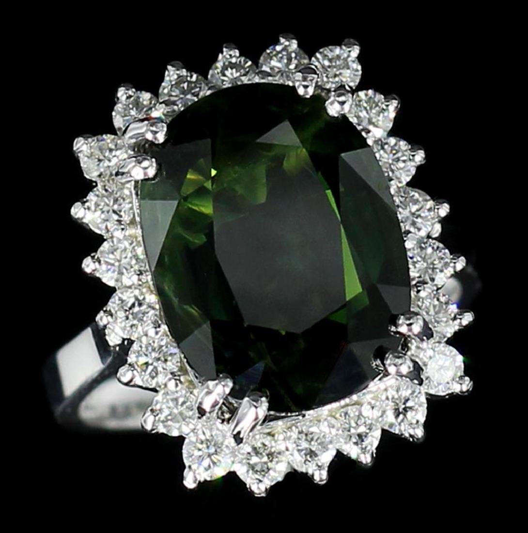 14KT White Gold 10.62 ctw Oval Cut Green Sapphire and