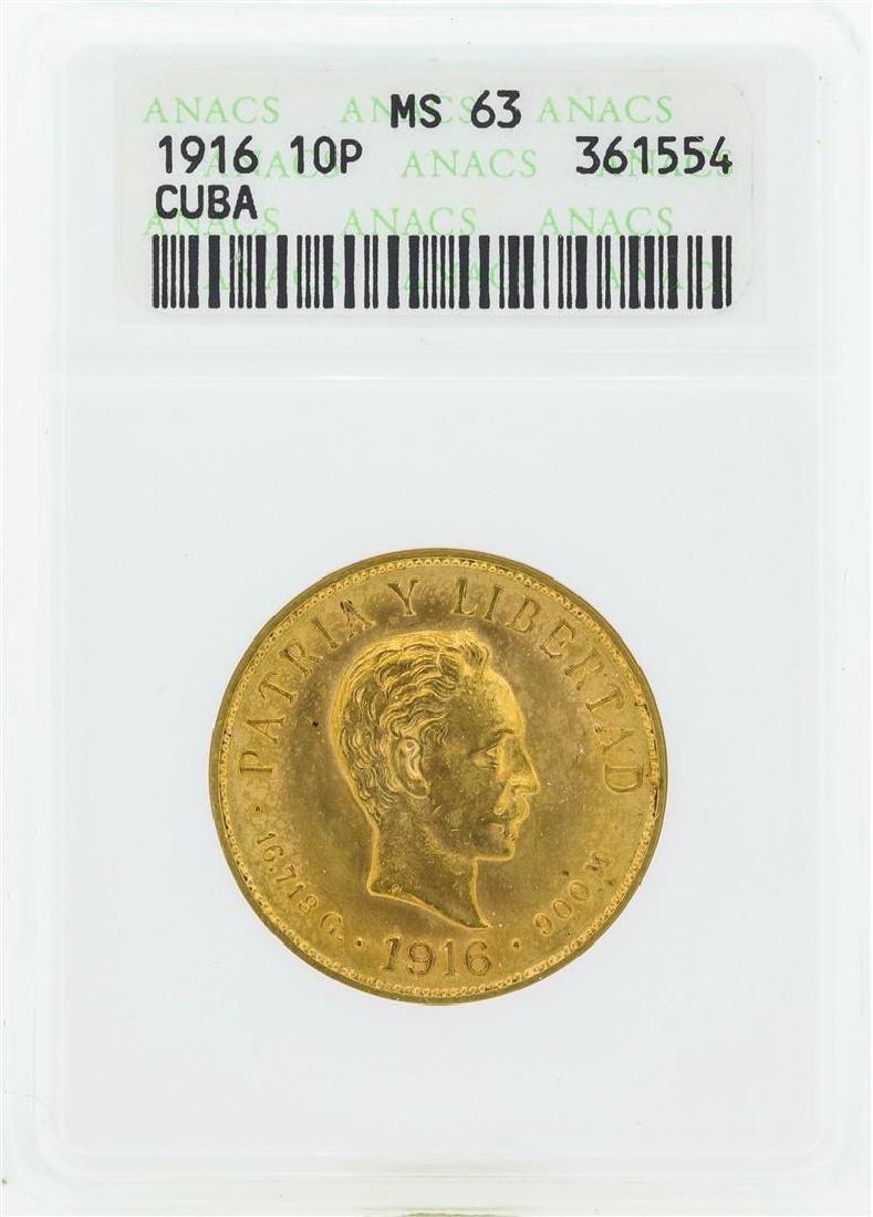 1916 Cuba 10 Pesos Gold Coin ANACS MS63