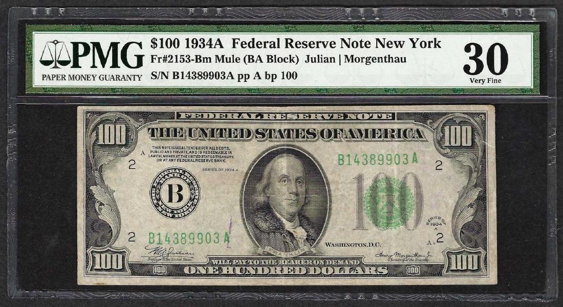 1934A $100 Federal Reserve Note Fr.2153-B PMG Very Fine