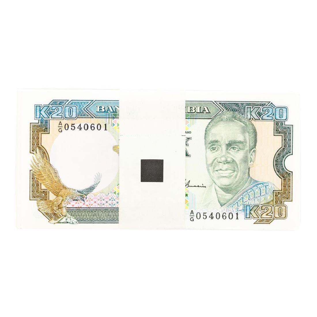 Pack of (100) Zambia 20 Kawacha Uncirculated Notes