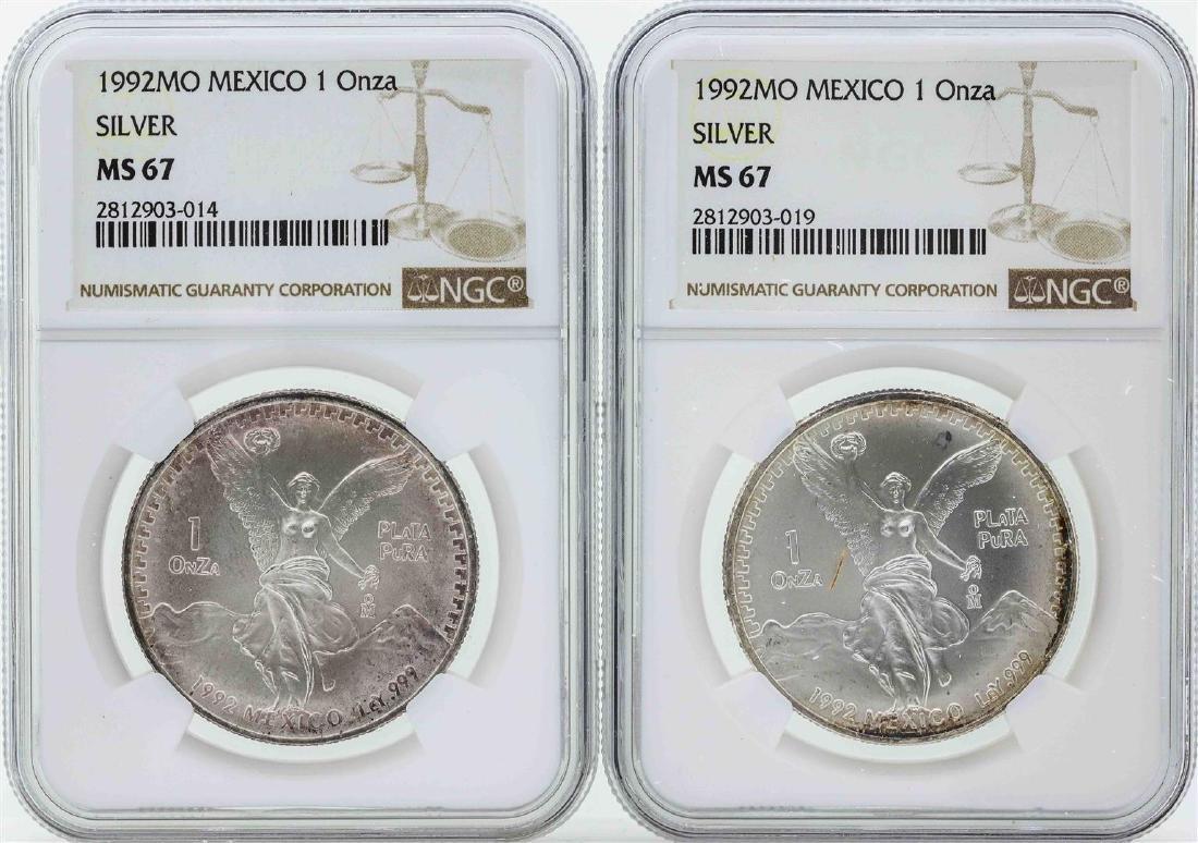 Set of (2) 1992MO Mexico 1 Onza Silver Libertad Coins