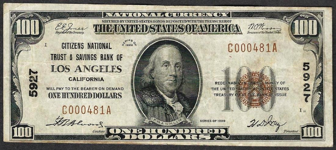 1929 $100 Citizens National Trust & Savings Bank of Los