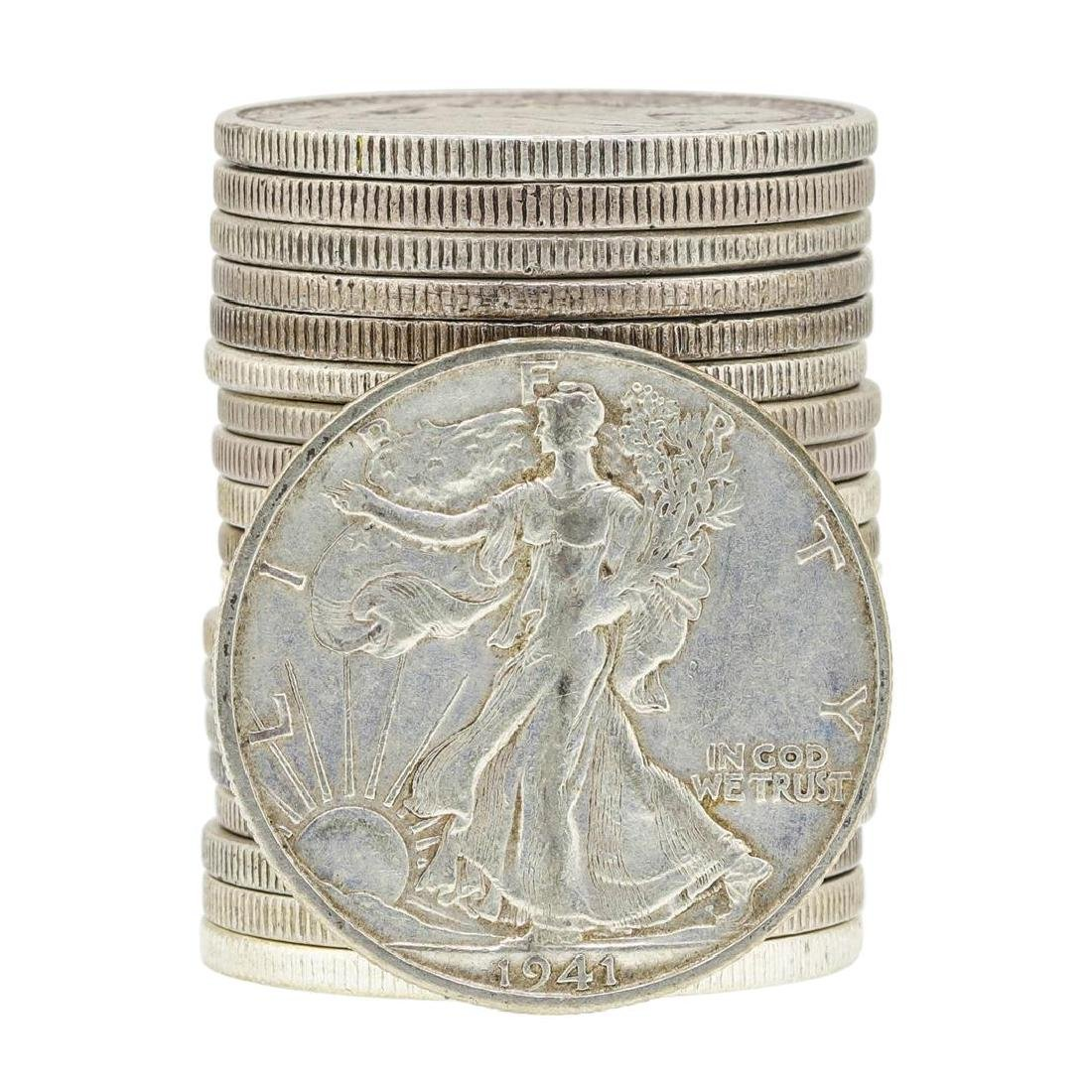 Roll of (20) Assorted Date Walking Liberty Half Dollar