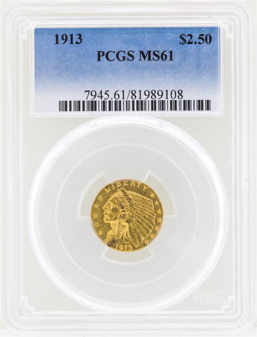 1913 $2 1/2 Indian Head Quarter Eagle Gold Coin NGC