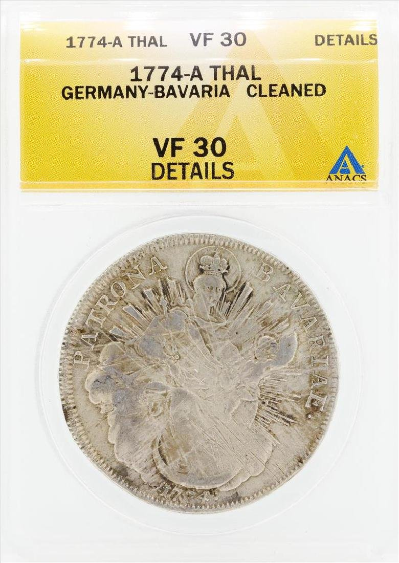 1774-A Thal Germany Bavaria Cleaned Coin ANACS VF30