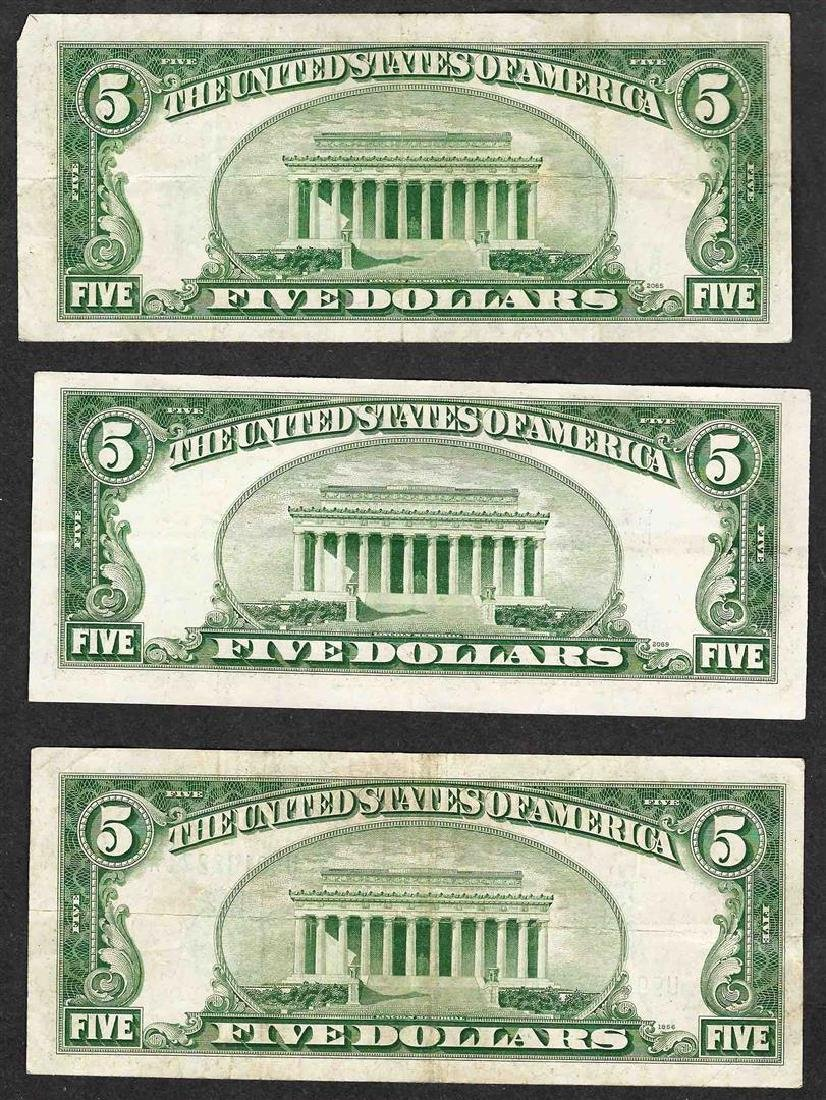 Lot of (3) 1934D $5 Silver Certificate Notes - 2