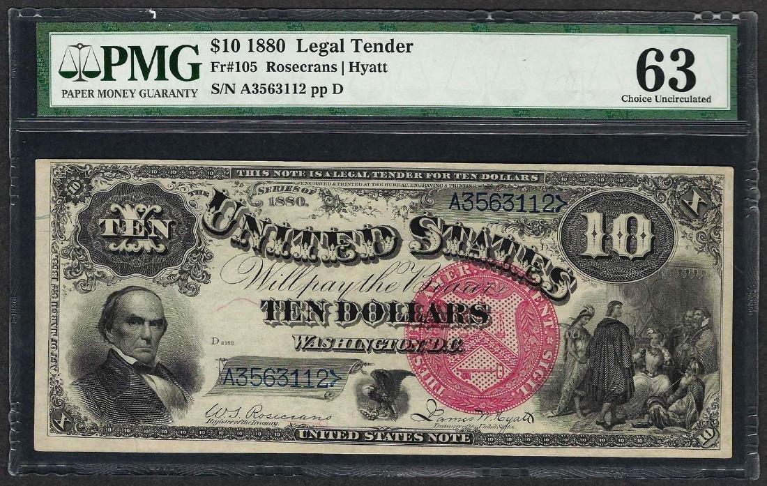 1880 $10 Jackass Legal Tender Note Fr.105 PMG Choice