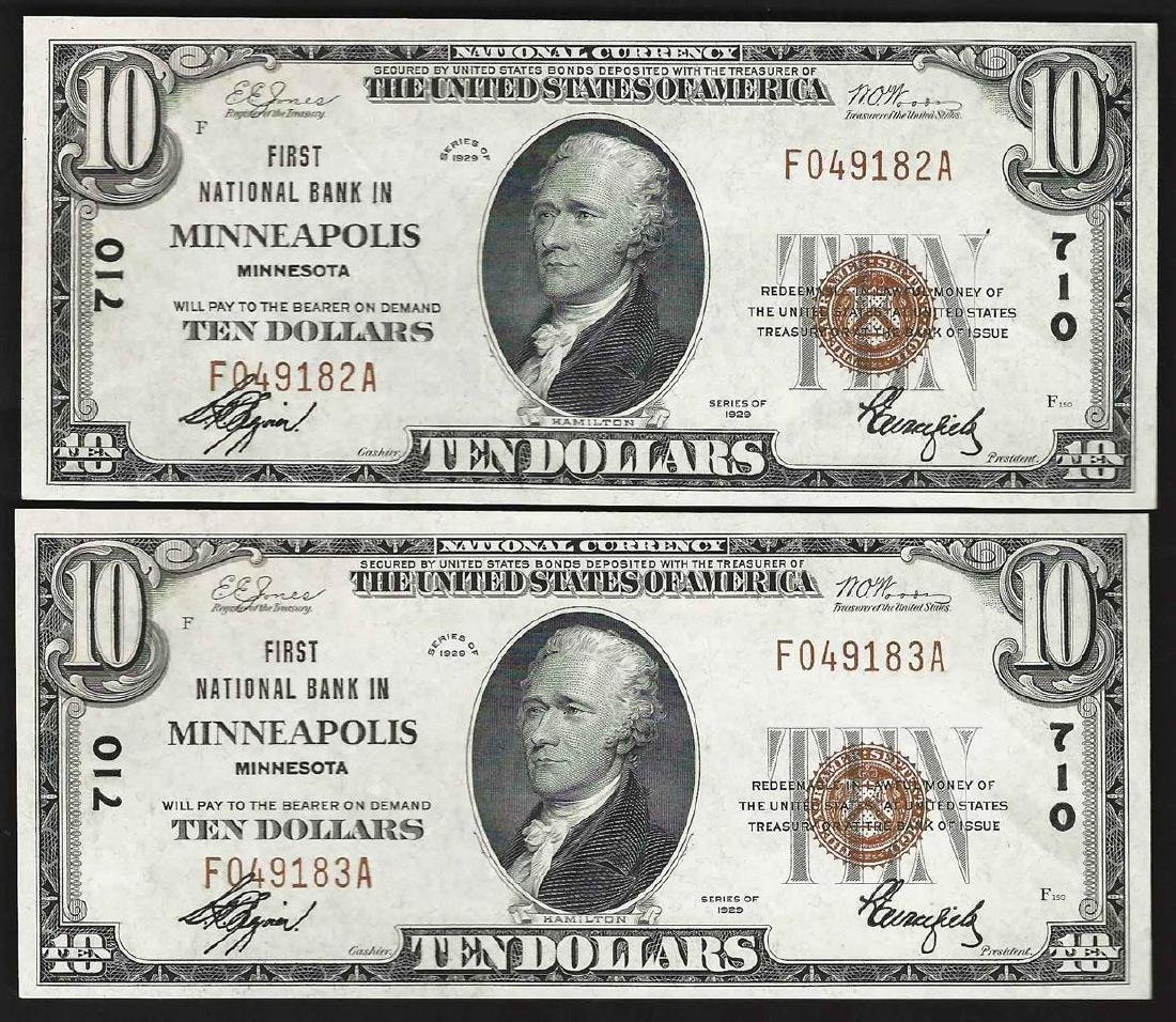 Lot of (2) Consecutive 1929 $10 First National Bank of