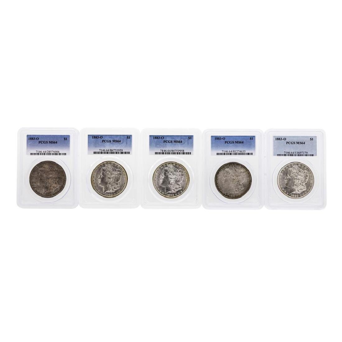 Lot of (5) 1883-O $1 Morgan Silver Dollar Coin PCGS