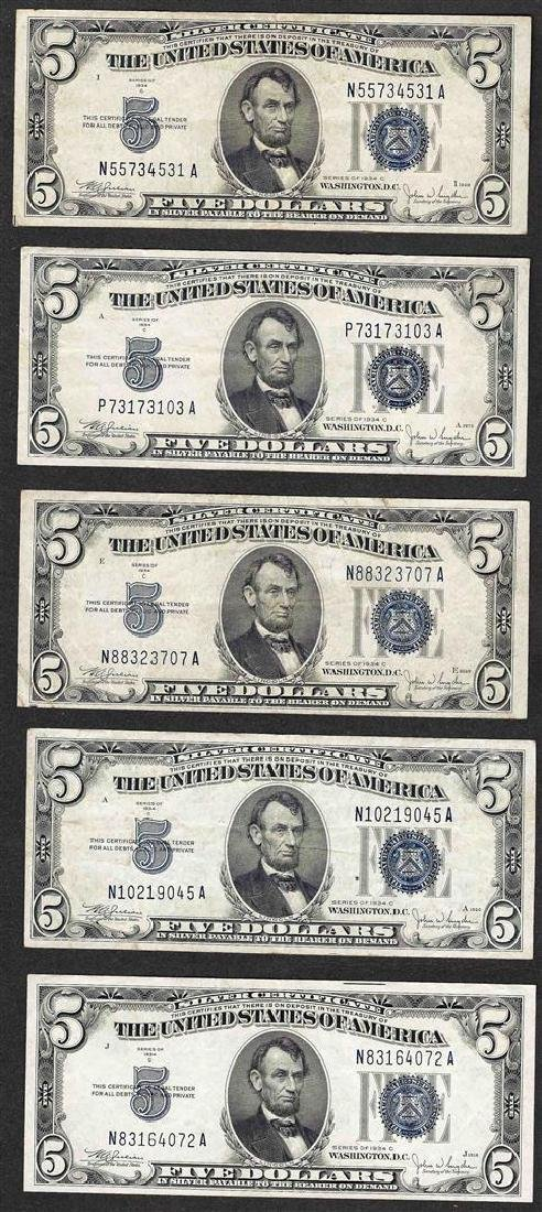 Lot of (5) 1934C $5 Silver Certificate Notes