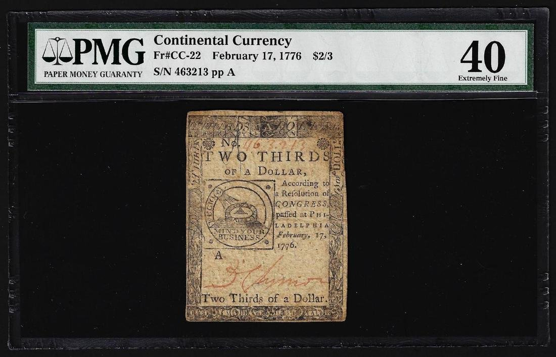 February 17, 1776 $2/3 Continental Currency Note PMG
