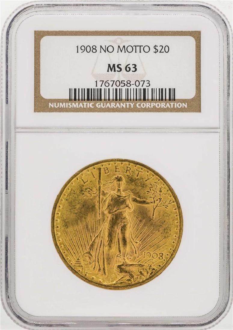 1908 No Motto $20 Saint Gaudens Double Eagle Gold Coin