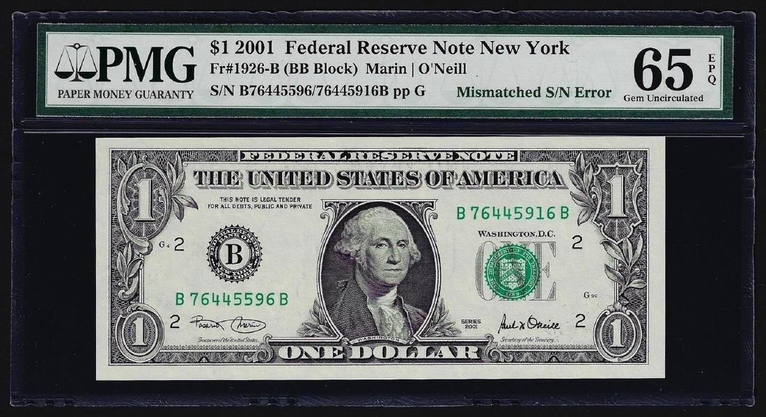 2001 $1 Federal Reserve Note Mismatched Serial Number