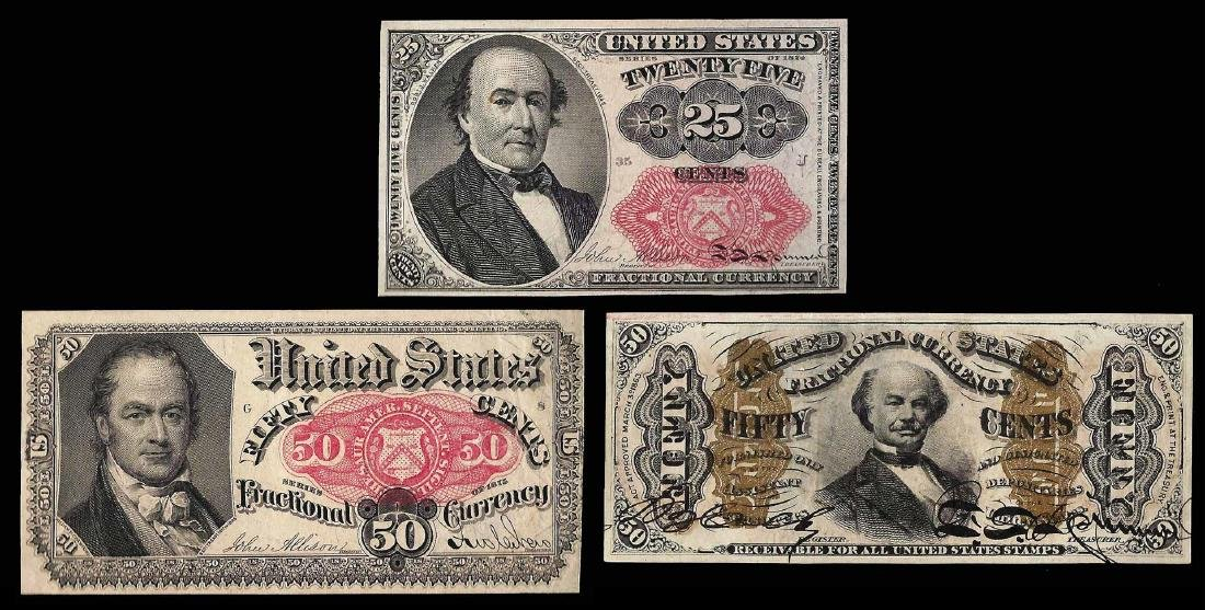 Lot of (3) Misc. Fractional Currency Notes