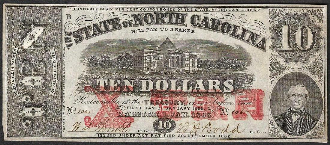 1863 $10 State of North Carolina Obsolete Note