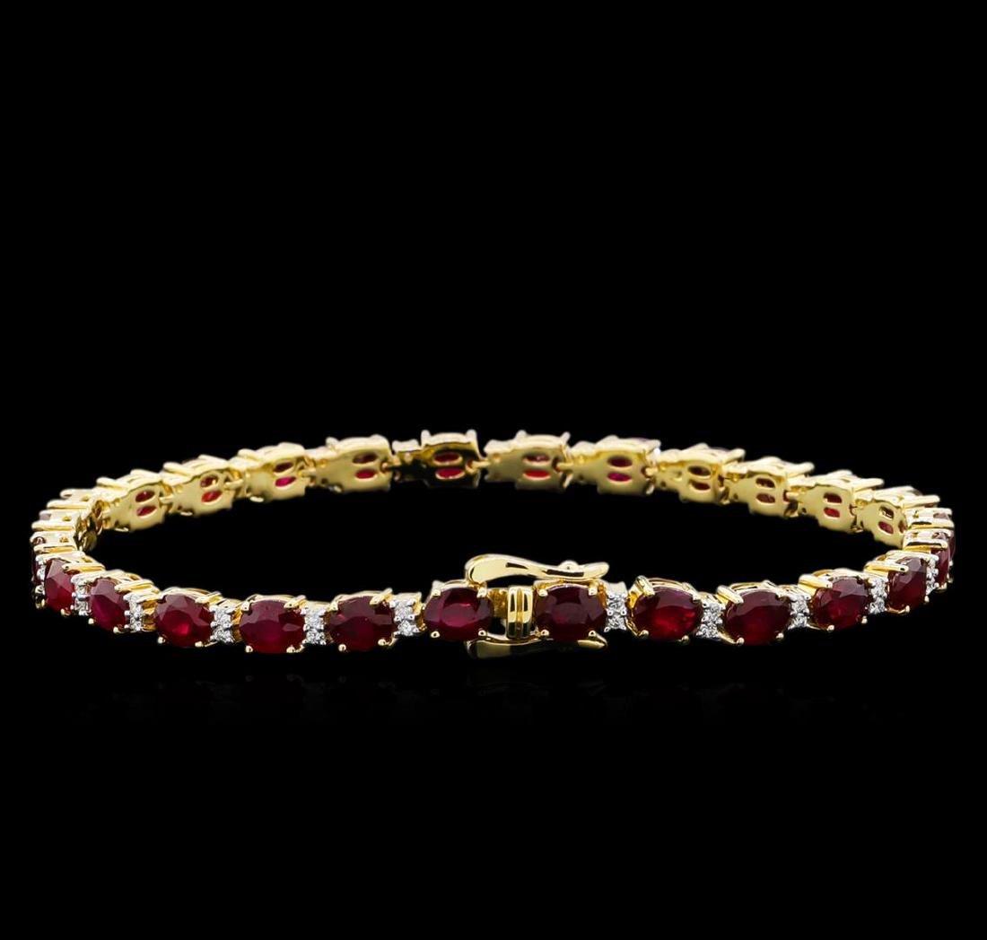 14KT Yellow Gold 11.35 ctw Ruby and Diamond Bracelet