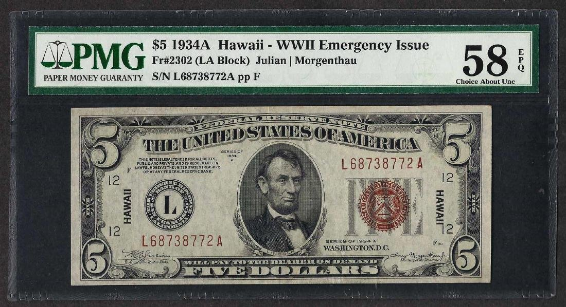 1934A $5 WWII Emergency Hawaii Federal Reserve Note PMG