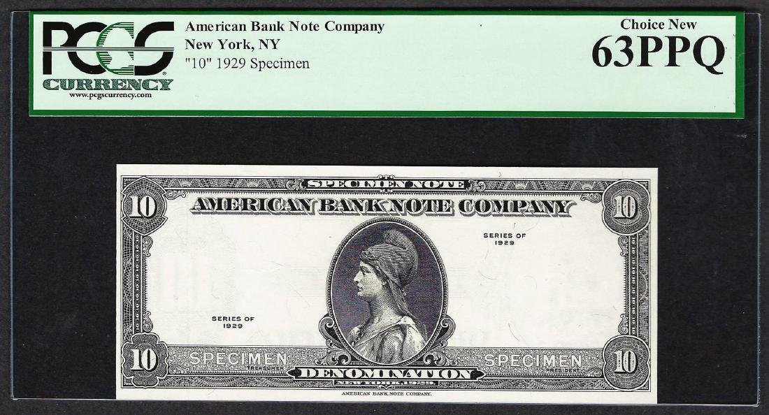 1929 American Bank Note Company Test Note 10 Units PCGS