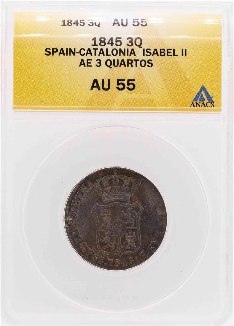 1845 Spain-Catalonia Isabel II AE 3 Quartos Coin ANACS