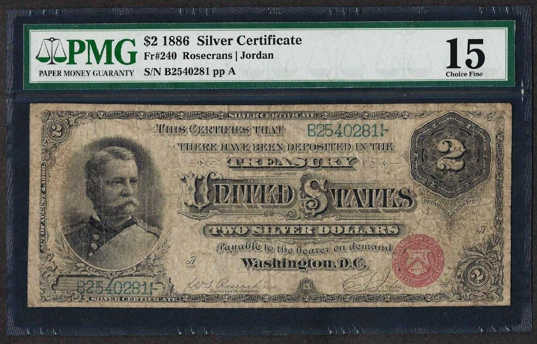 1886 $2 Silver Certificate Note Fr.240 PMG Choice Fine