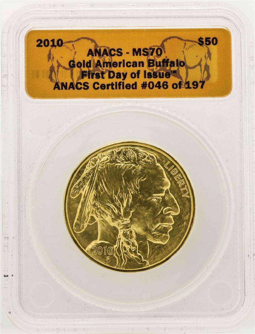 2010 $50 American Gold Buffalo Coin ANACS MS70 First