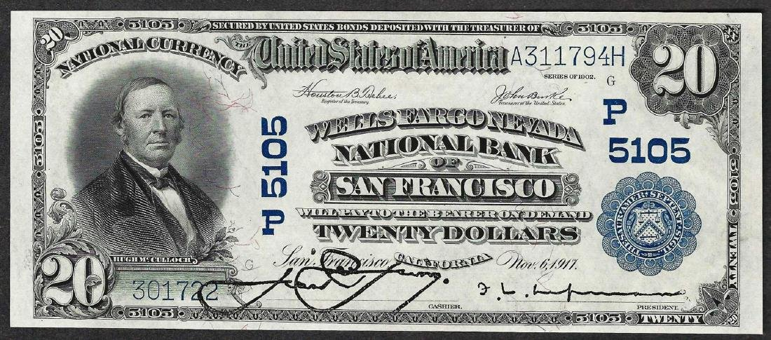 1902 $20 PB San Francisco, CA National Currency Note