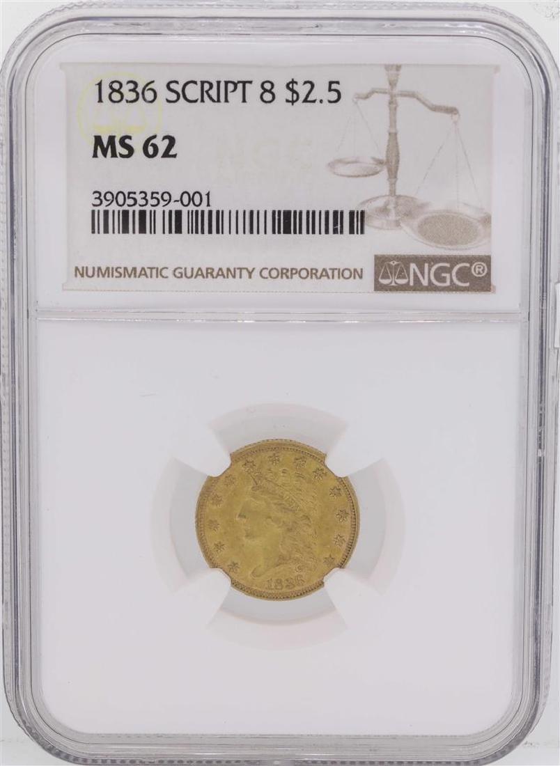 1836 Script 8 $2 1/2 Classic Liberty Head Quarter Eagle