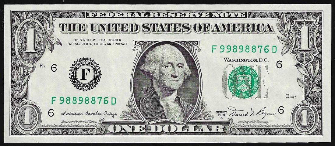 1981A $1 Federal Reserve Note Mismatch Serial Number