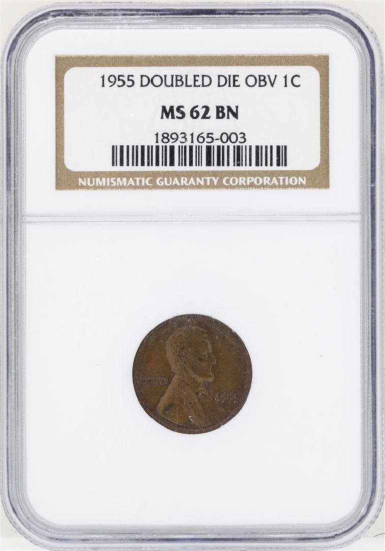 1955 Doubled Die Lincoln Wheat Penny Coin NGC MS62BN