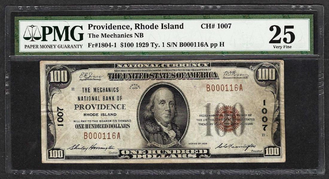 1929 $100 The Mechanics National Bank of Providence