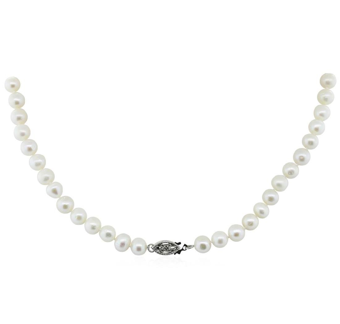 6.5-7MM Cultured Pearl Necklace With Silver Clasp - 2