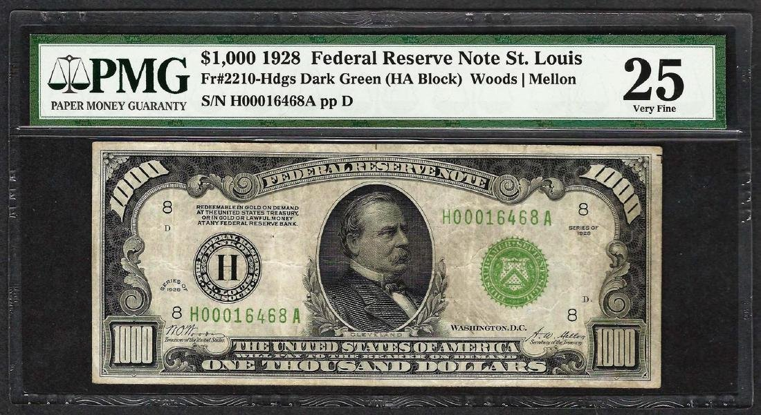 1928 $1,000 Federal Reserve Note St. Louis Fr.2210-H